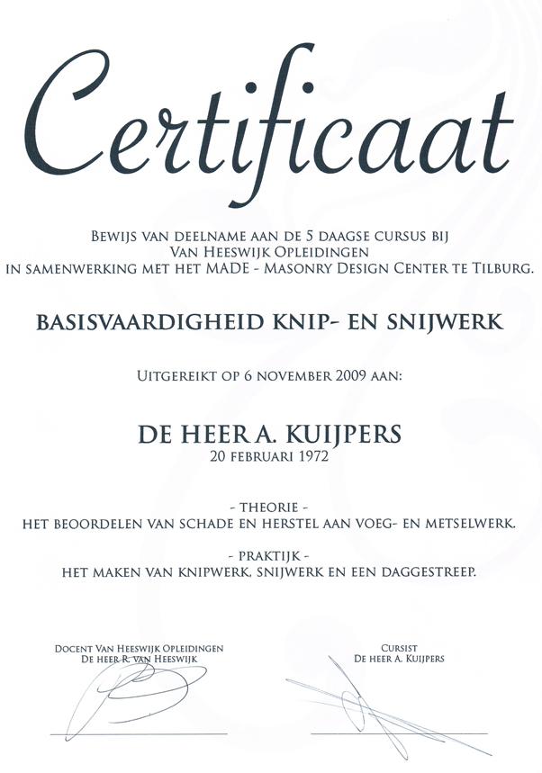 Certificaat Basisvaardigheid Knipvoegen Snijvoegen - Alex Kuijpers Voegbedrijf en Gevelrenovatie