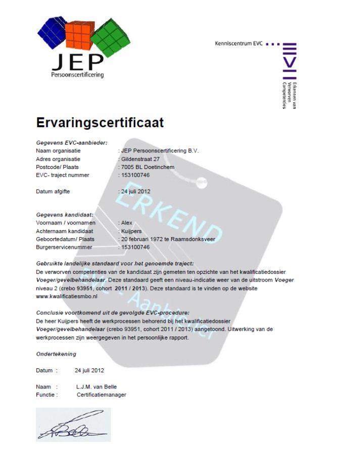 Certificaat EVC - Alex Kuijpers Voegbedrijf en Gevelrenovatie