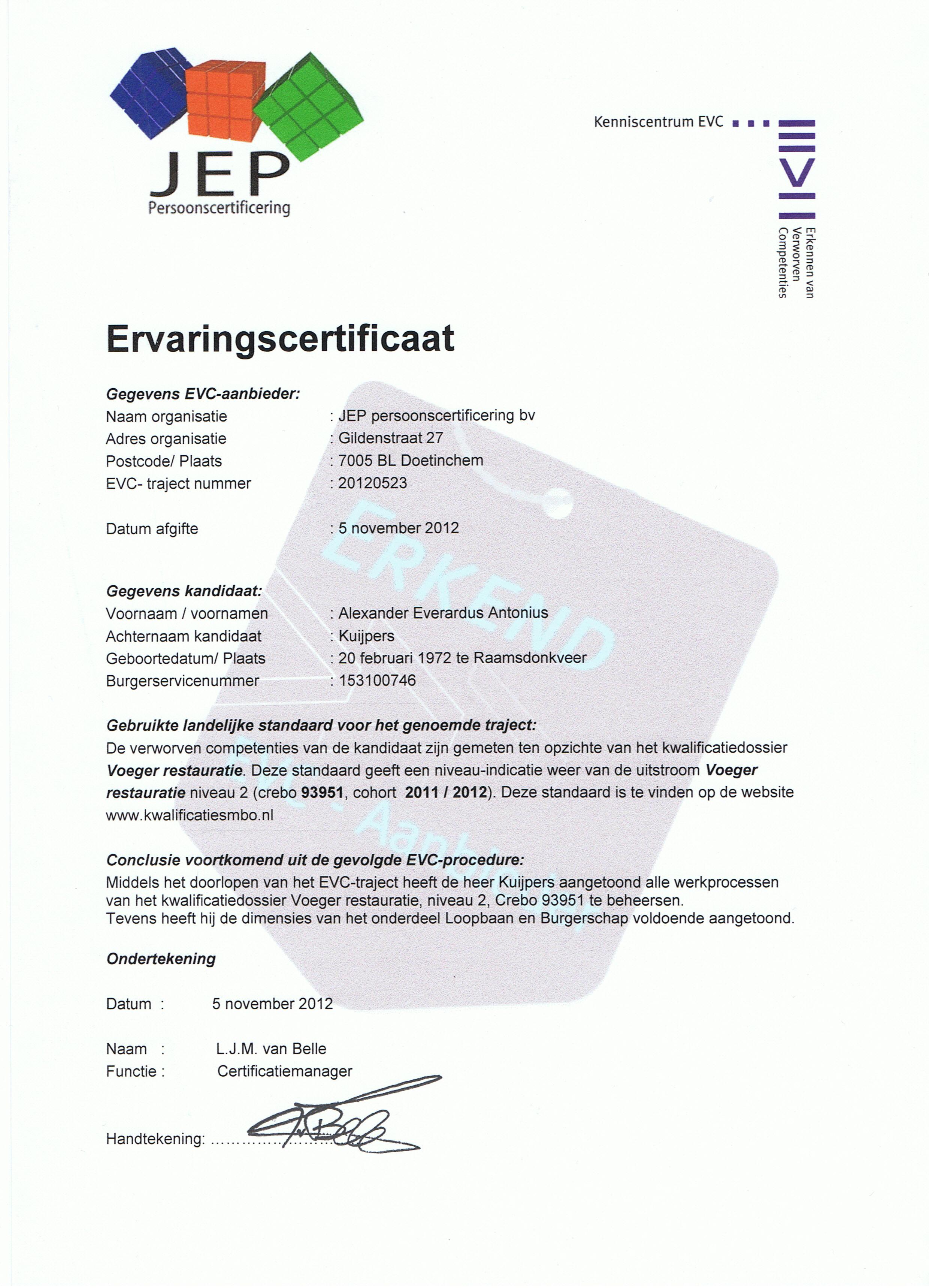 Certificaat EVC Voeger Restauratie - Alex Kuijpers Voegbedrijf en Gevelrenovatie
