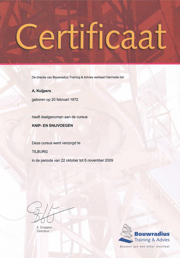 Certificaat Knipvoegen Snijvoegen - Alex Kuijpers Voegbedrijf en Gevelrenovatie