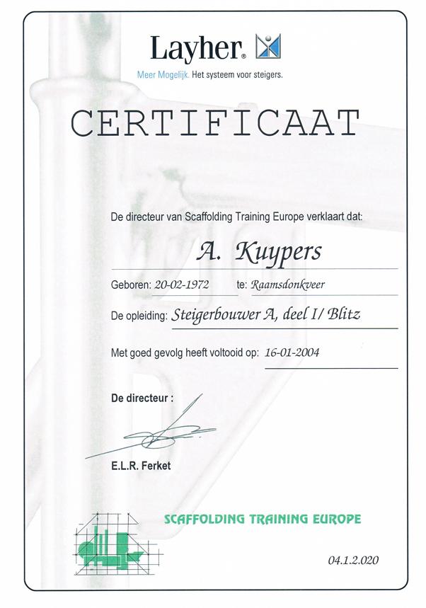 Certificaat Steigerbouw Layher - Alex Kuijpers Voegbedrijf en Gevelrenovatie