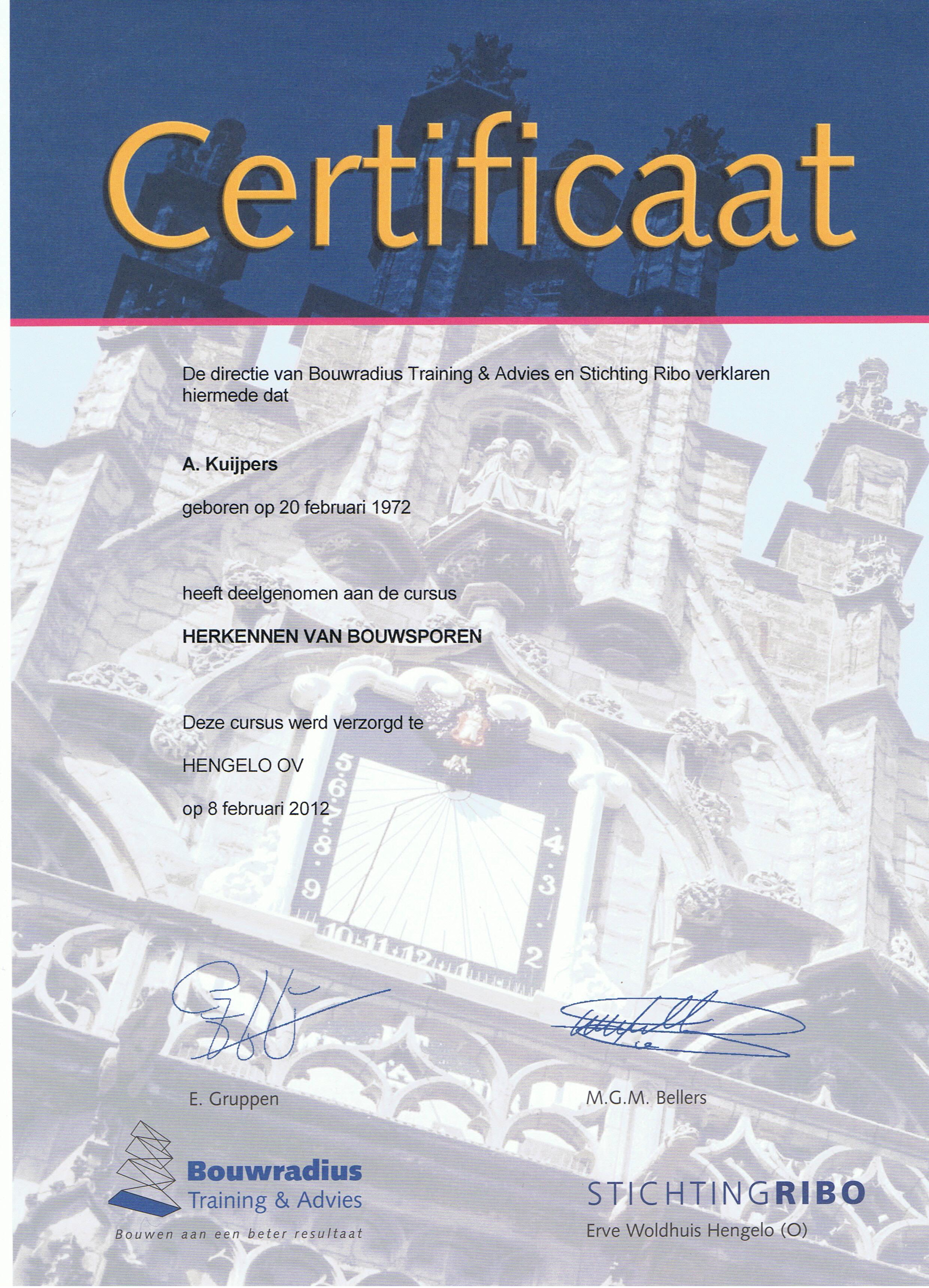 Certificaat Stichting RIBO Herkennen van Bouwsporen - Alex Kuijpers Voegbedrijf en Gevelrenovatie