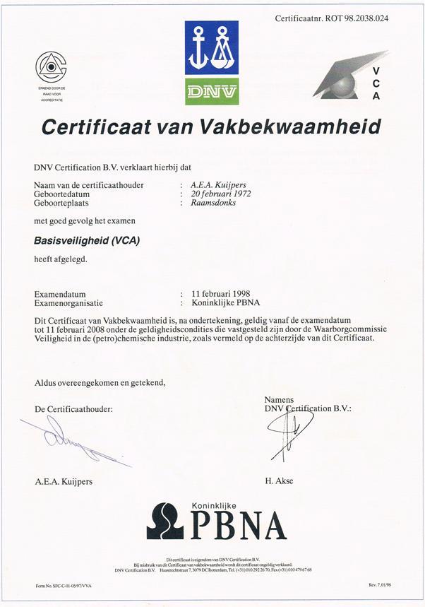 CVA Basisveiligheid 2 - Alex Kuijpers Voegbedrijf en Gevelrenovatie