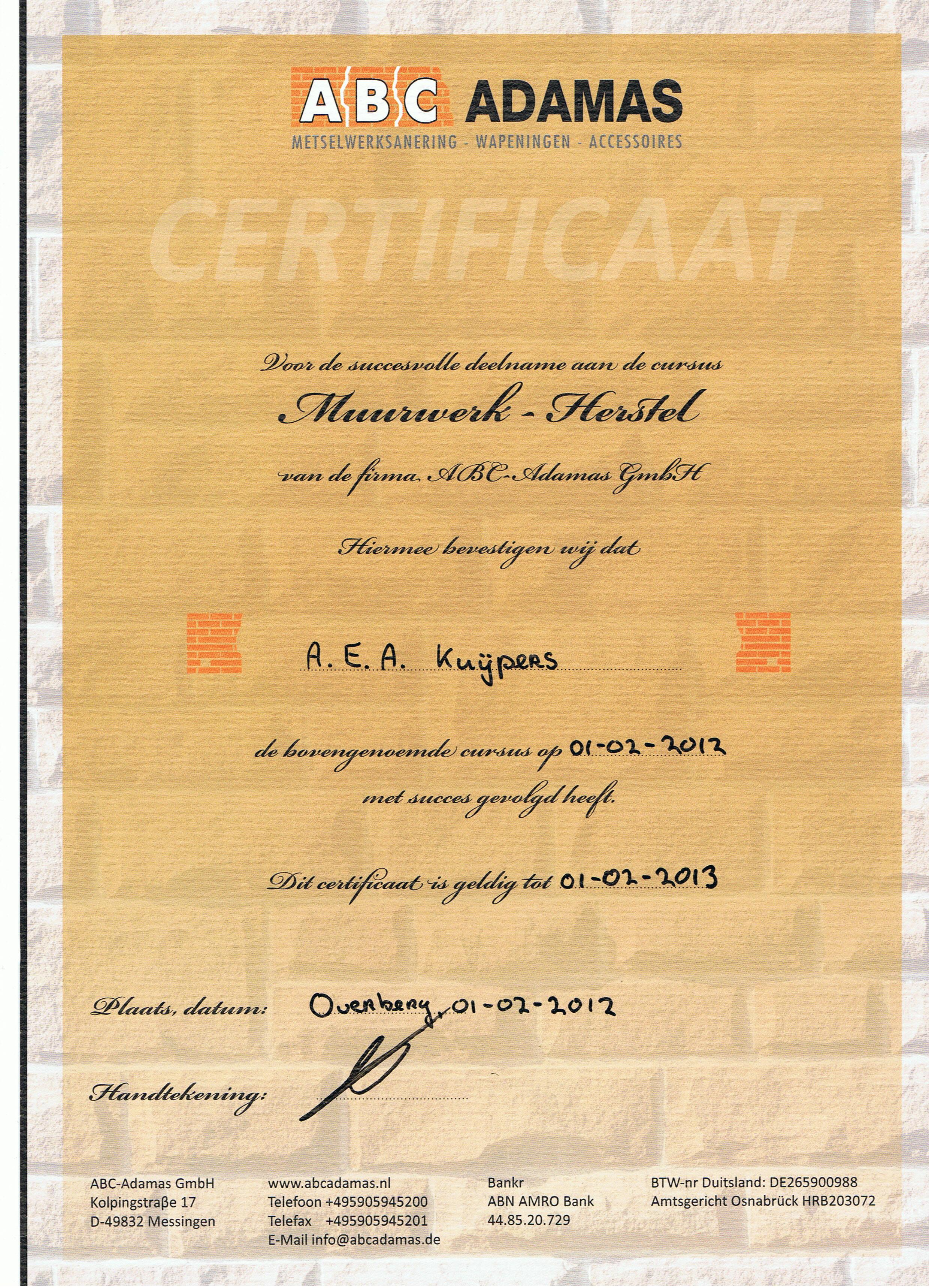 Certificaat Scheurherstel ABC ADAMAS