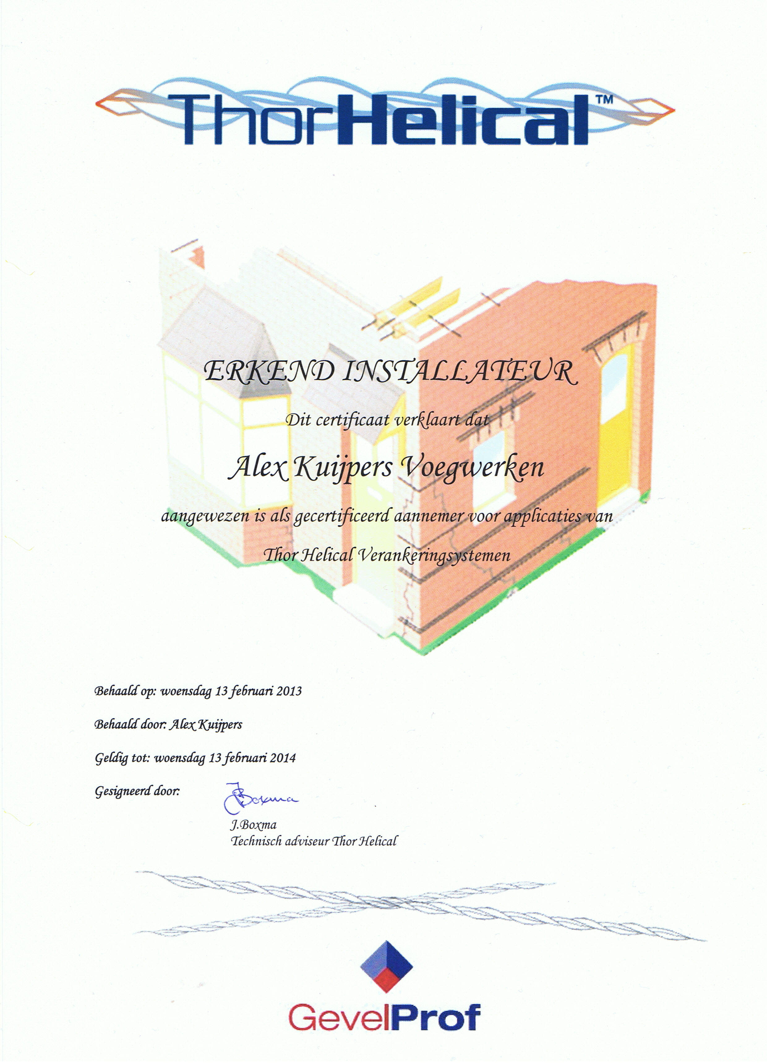 Certificaat Thor Helical Scheurherstel - Alex Kuijpers Voegbedrijf en Gevelrenovatie