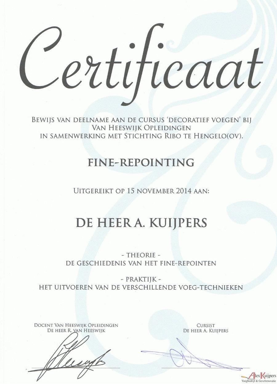 Fine Repointing Alex Kuijpers Certificaat
