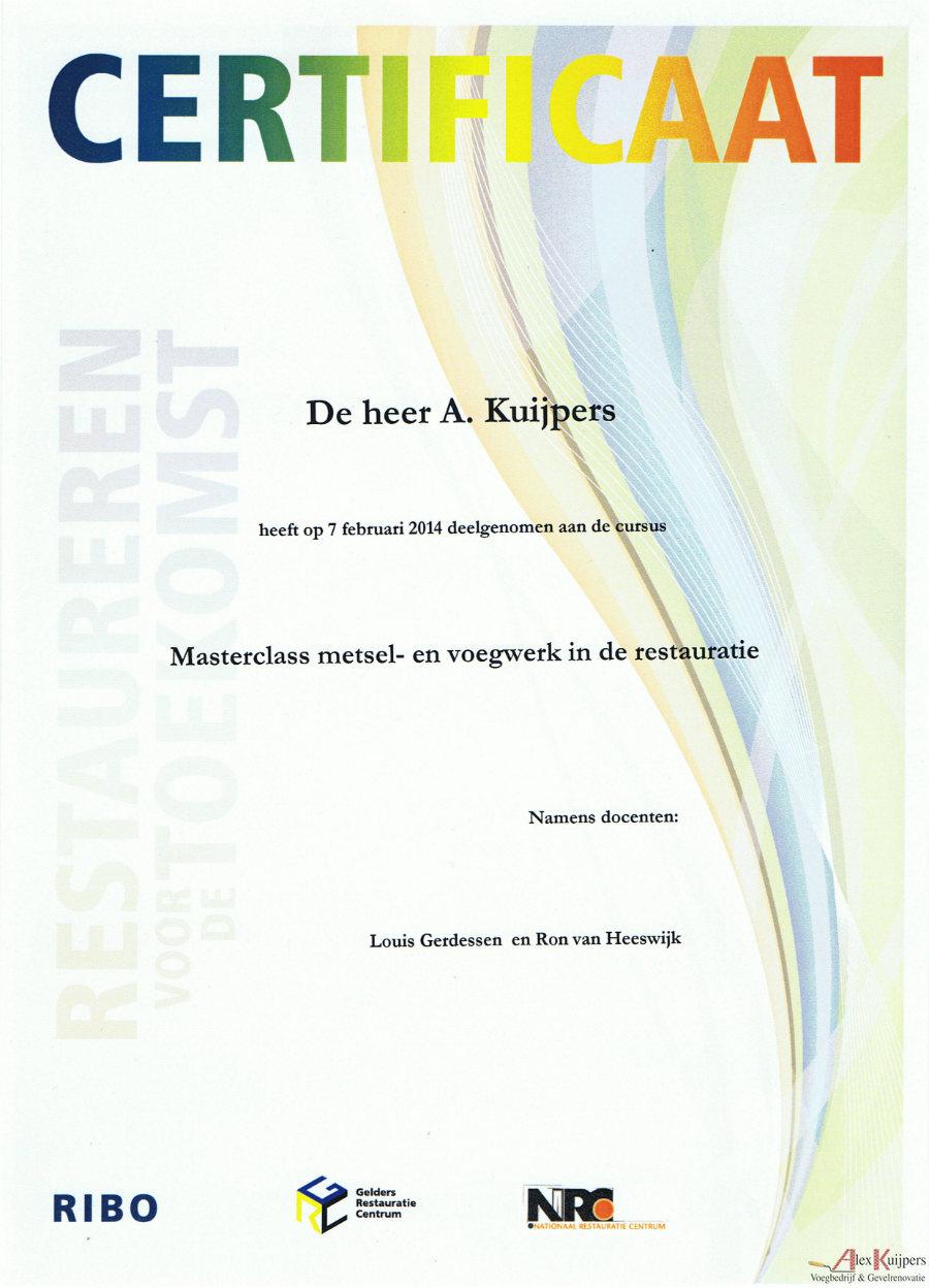 Masterclass Metsel- en Voegwerk in de Restauratie Alex Kuijpers Certificaat