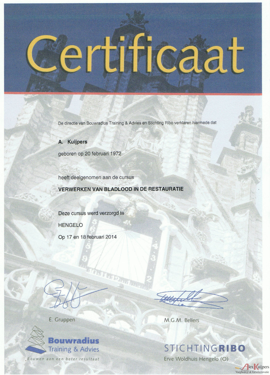 Verwerking van bladlood in de Restauratie Alex Kuijpers Certificaat